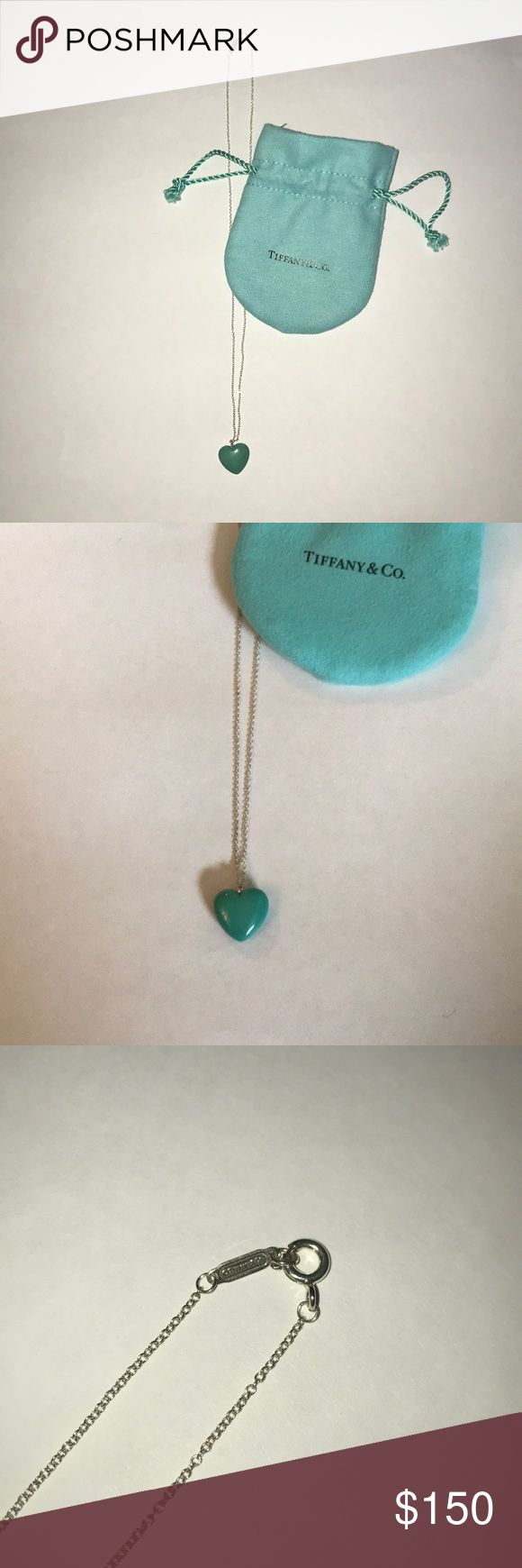 Tiffany and Co Tiffany blue full heart pendant. Tiffany and Co authentic Tiffany and Co blue full heart pendant. This is not a flat pendant, it is 3D and .25 inches thick. Just cleaned at Tiffany and Co. for sale. Beautiful condition, rarely worn. Comes with Tiffany and Co. drawstring dust pouch. Tiffany & Co. Jewelry Necklaces