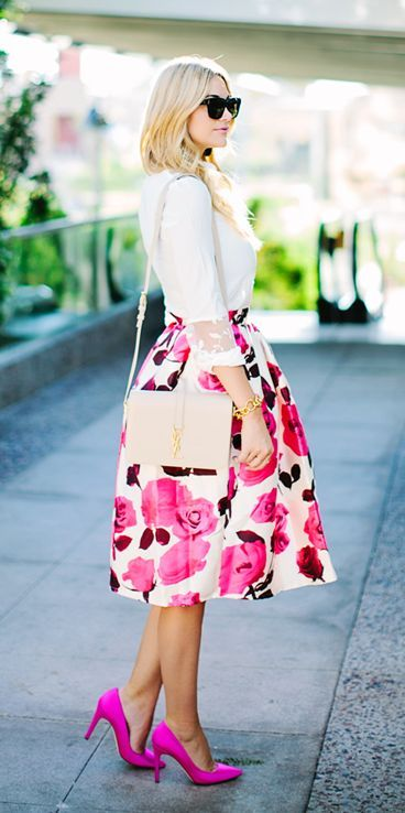 Pretty in Pink Florals. Midi skirt with  fuchsia lowers. Fuchsia stilettos and white shirt.
