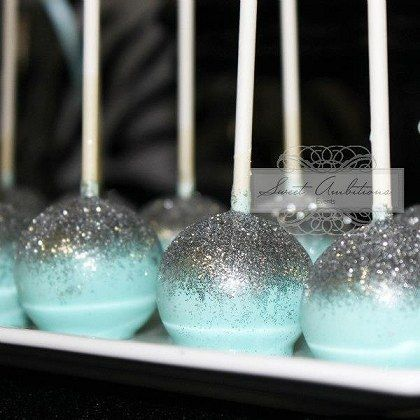 Zebra and glitter cake pops PERFECT for a Frozen bday theme
