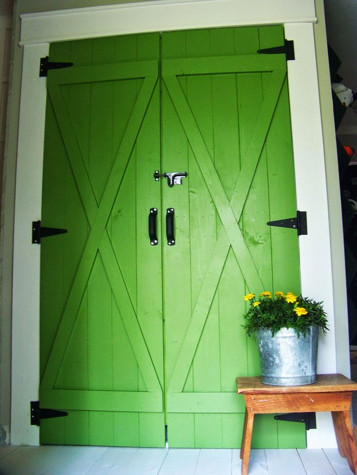 Like the look of these doors....need new doors for the shed and I think I want them made like this!  Three Dog Farmhouse: ~ diy barn doors ~