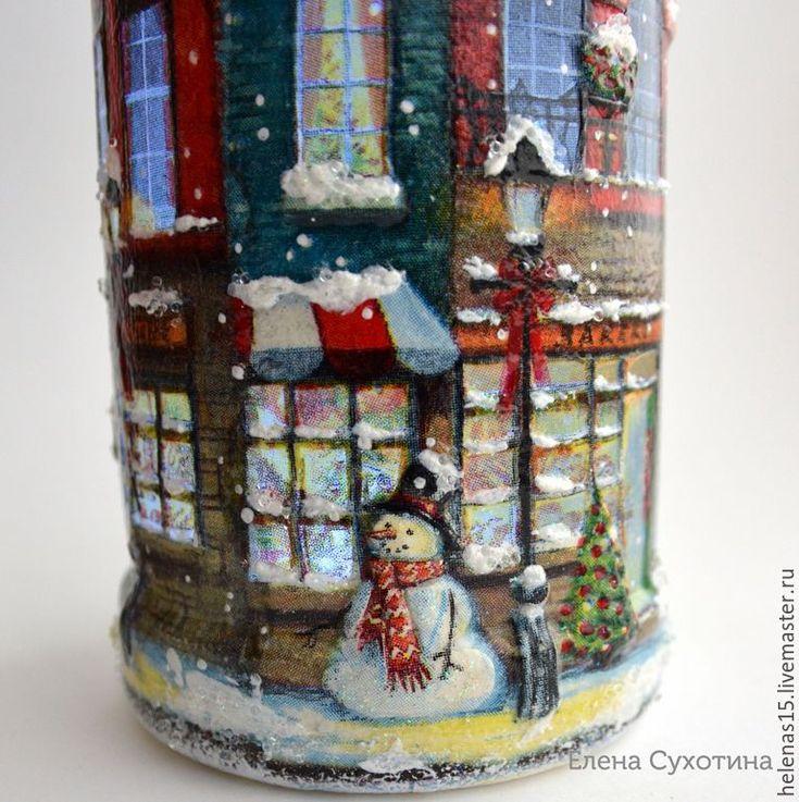 Купить Рождественские домики-бутылки со светящейся пробкой Декупаж - стекло, стеклянная бутылочка, дом