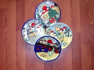 piatti in ceramica diametro cm 25 decoro quattro stagioni realizzati a mano