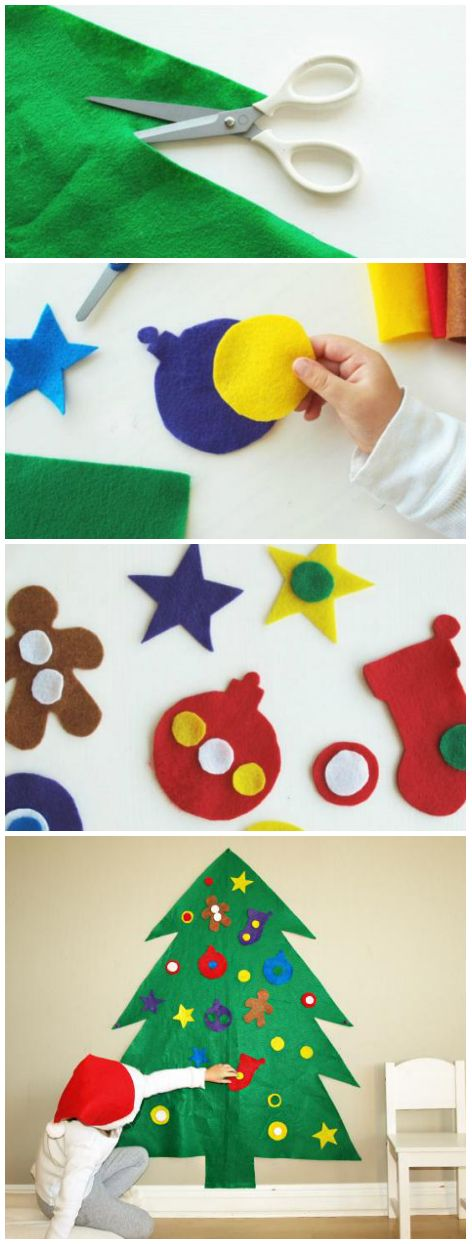 """Felt Christmas Tree: Cut a big tree out of felt. Felt sticks to itself, so kids can redecorate """"their"""" tree all season long without worrying about breaking ornaments. Bringing it out every year is a sweet family tradition. #24creativedays"""