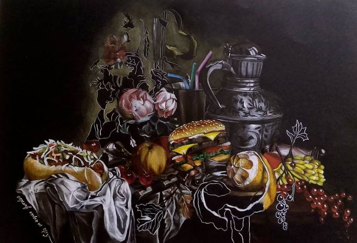 Dead Nature with Fast Food A3 made with colored pencils by Rita Marques Guedes