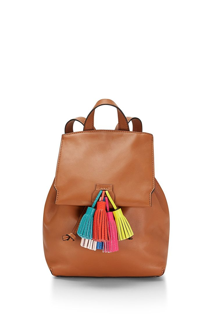 Sofia Backpack - Big upgrade from your nylon book bag. This buttery leather backpack pulls tight via drawstring. Those electric leather tassels? Obsessed.