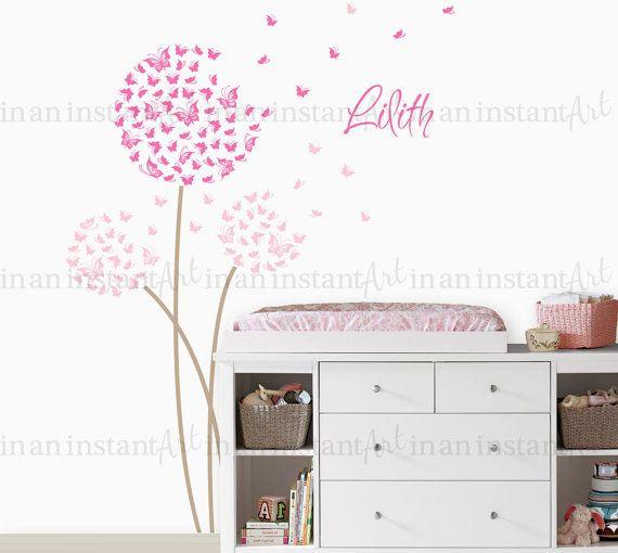 Dandelion Wall Decal | Custom Color with Butterflies | Custom Baby Nursery, Children's Room Interior Design | Easy Squeegee Application 033