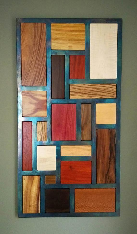 Wood Wall Art, 3D Wood and Metal Mosaic Wall Art, Exotic Wood Wall Art, Wood Wall Sculpture, Metal Home Decor