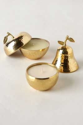 Gold apple and pear candles.