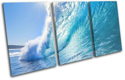 Crashing Wave Surfing Sunset Seascape TREBLE CANVAS WALL ART Picture Print #fash…