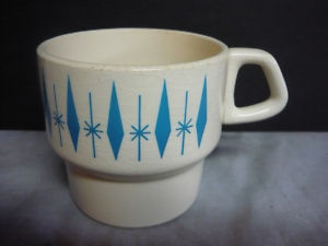 Vintage Mid Century Modern Starburst Nest Stone Coffee Cup Blue Atomic Mug Retro | eBay