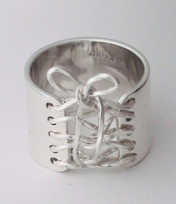 Corset Ring Sterling Silver Wide Band w Sterling Silver Laced Up Bow Trendy.