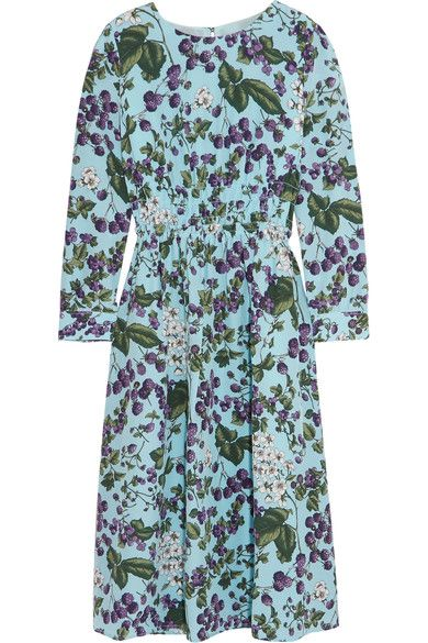 J.Crew - Juntos Printed Silk-crepe Dress - Blue - US12