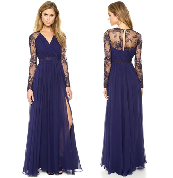 Dark Blue Patchwork Lace Chiffon Maxi Dress - Dresses