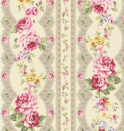 Kilala Antique Roses QMS3075215e cotton Fabric by agardenofroses, $11.00