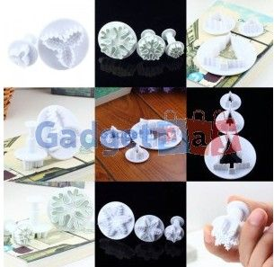 3Pcs Round Circle Cutter Decorating Mold Mould Fondant Cake Plunger