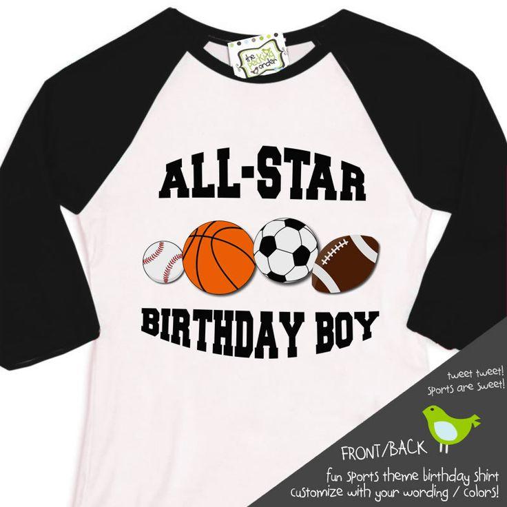 sports birthday boy shirt - soccer baseball football basketball sports theme raglan sleeve birthday shirt. $24.50, via Etsy.