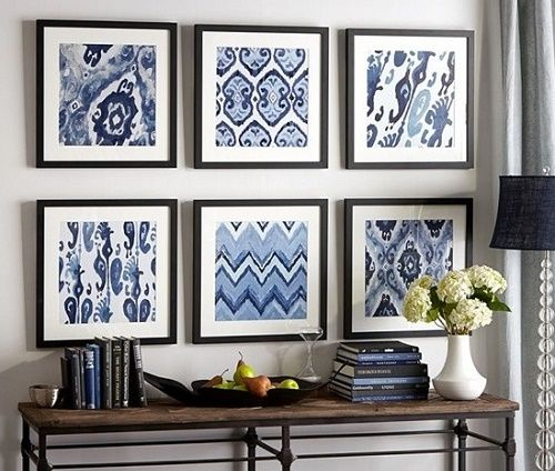 DIY Framed Fabrics or scrapbook paper for wall art in home decoration. Change every season or holiday.