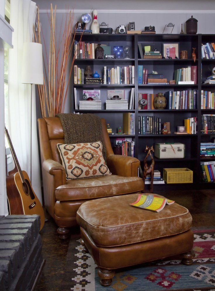 Iu0027d Go Less Modern, But Perfect Chair And Rug! Vintage LibraryLeather ...