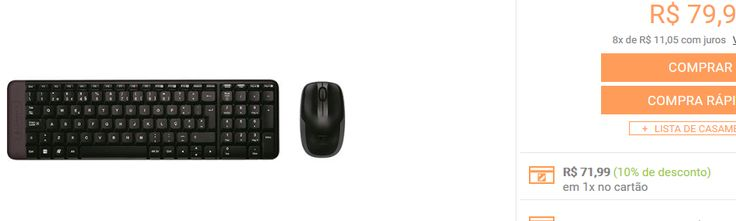Combo Mouse e Teclado Wireless Logitech MK220 << R$ 7199 >>