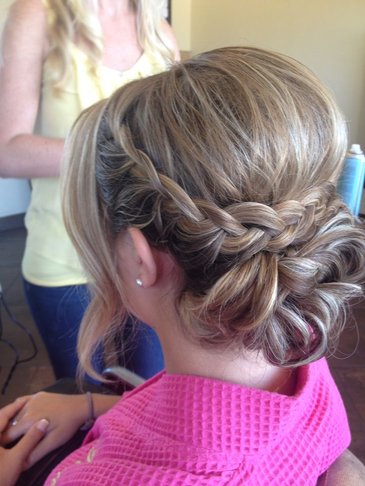 Braided updo with a bump! Definitely not the whisp around the face though