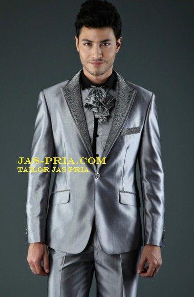 jas pengantin pria silver trendi jpj182