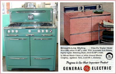 Early 1950's gree Wedgewood stove.  Gorgeous pink General Electric Washer and Dryer.