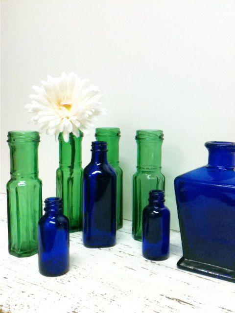 SALE,Cobalt Blue Glass,DIY Wedding,Glass Lot,Emerald Green,Bottle Collection,Beach Wedding,Beach Decor,Cobalt Glass,Garden Wedding on Etsy, $25.00