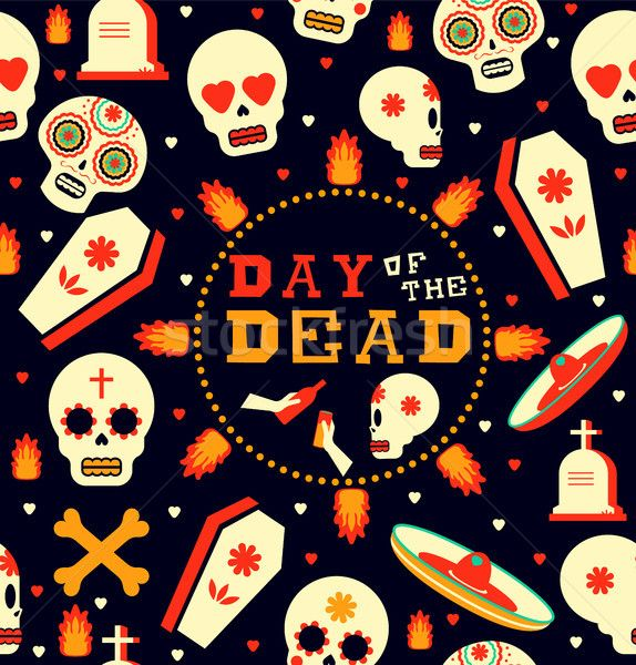 Day Of The Dead Emoji Skull Seamless Pattern Art Stock Photo C Cienpies 8588255 Stockfresh With Images Pattern Art Seamless Patterns Art