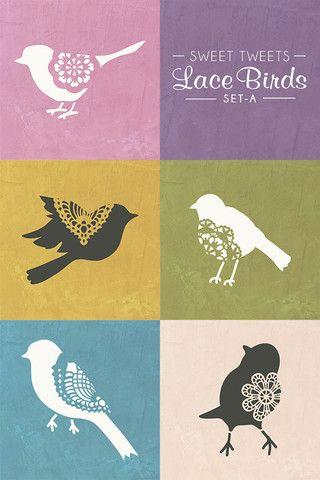 Sweet Tweets Lace Bird Set A