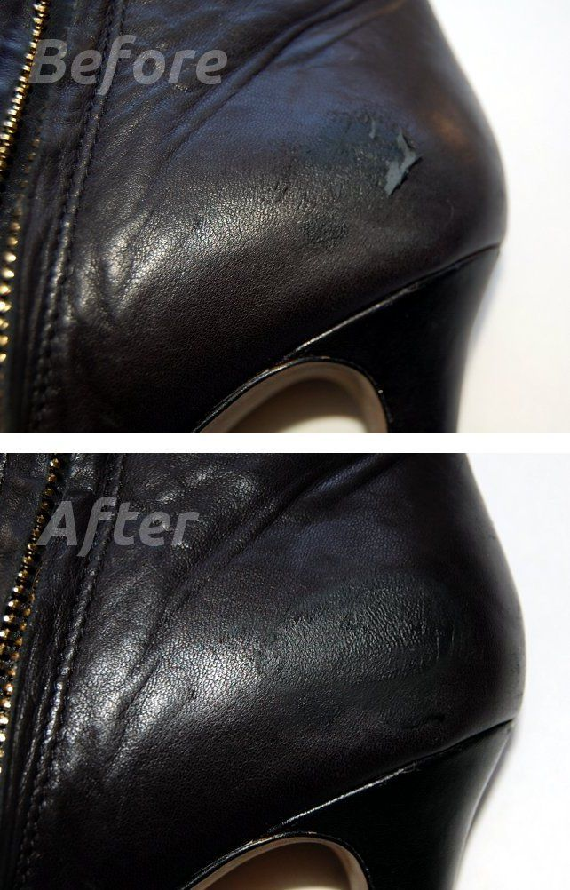 DIY shoe scuff repaired with leather tear kit