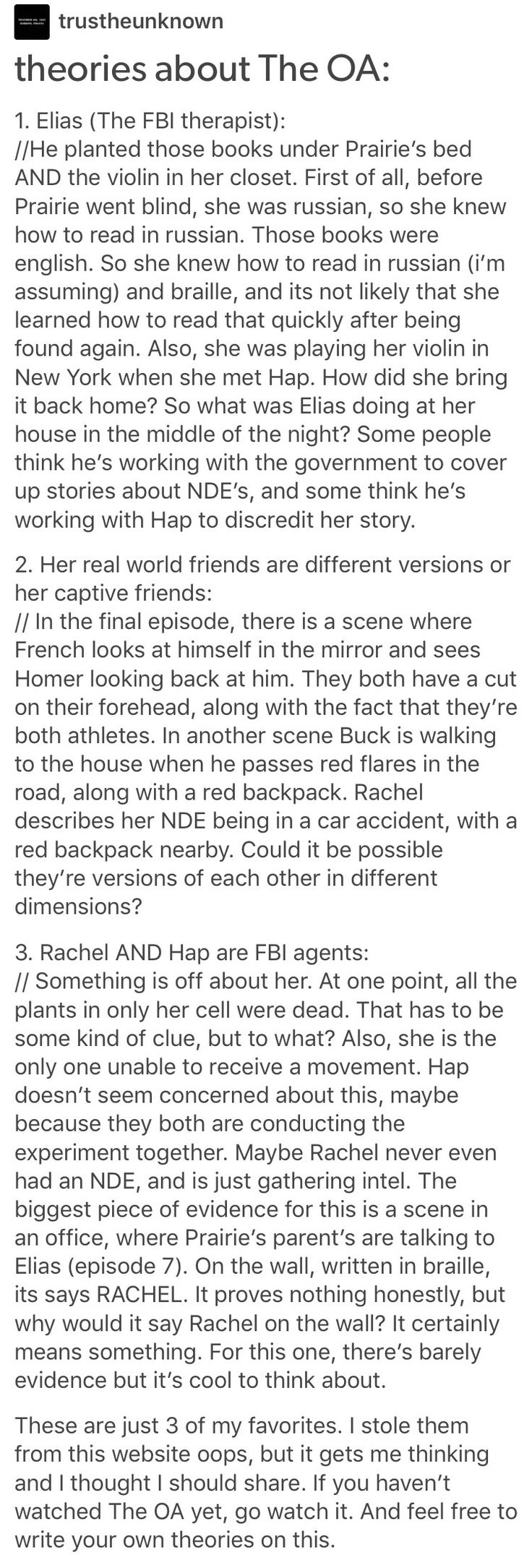 The OA theories