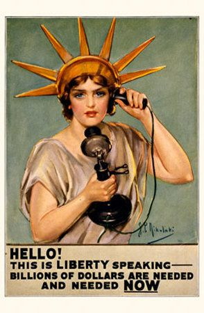 A slightly less intimidating Lady Liberty than the scowling one posted earlier pleads by phone with citizens to buy Liberty Bonds to support the WW1 war efforts.