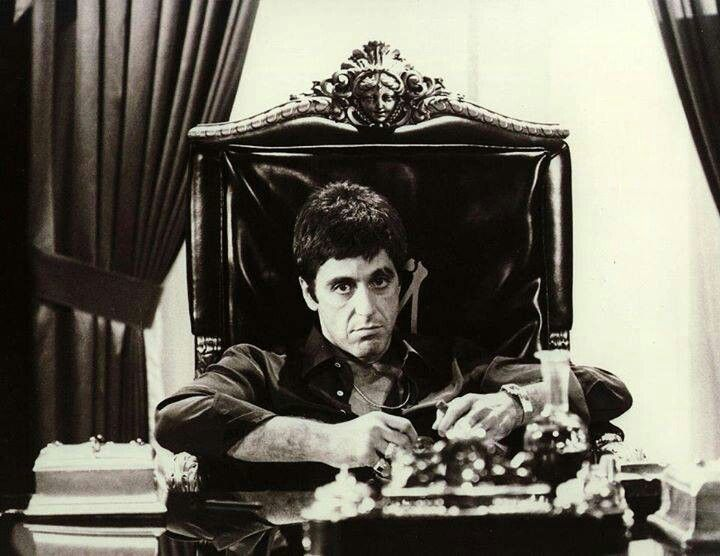 Scarface - Tony at his desk waiting for Hell to come.