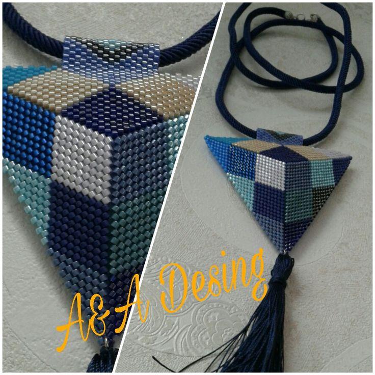 Miyuki beads triangle and tassel handmade necklace desing