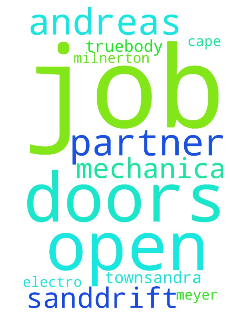 A prayer request for open doors to a job - A prayer request for open doors to a job for my partner Andreas Meyer at electro mechanica in sanddrift milnerton cape town.Sandra truebody Posted at: https://prayerrequest.com/t/wKW #pray #prayer #request #prayerrequest