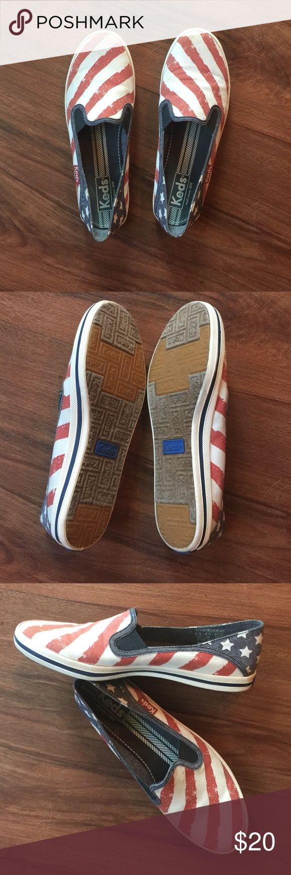 Brand new, no tags, never worn American Keds I bought these online and they are half a size too big. Never have been worn outside. Super cute. Canvas material. Slip on. Keds Shoes Flats & Loafers