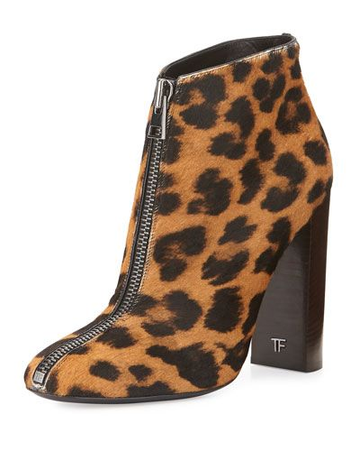 grey satin shoes and bags Front Zip Leopard Print Calf Hair Ankle Boot