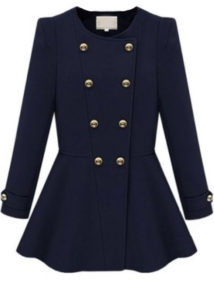 Navy Long Sleeve Double Breasted Ruffle Coat US$36.43 (Sheinside.com) in plum color, cool style