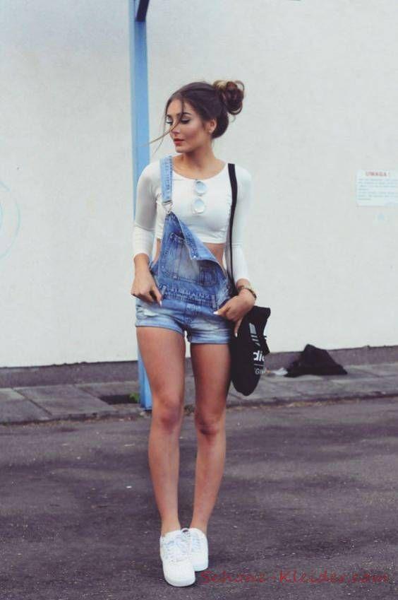 2019 Sommer Outfit: Jeans Jumpsuit Kurz für Damen