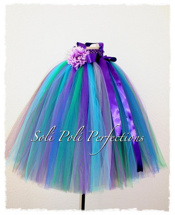 Peacock Flair Tutu Gown/DressFlower Girl by SoliPoliPerfections, $30.00