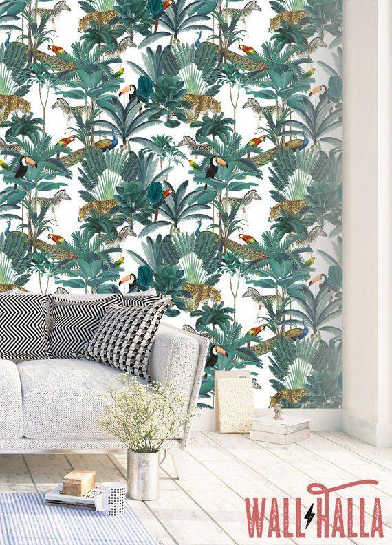 Jungle Animal Wallpaper Papier Peint Epure Et Baton Floral Etsy Jungle Wallpaper How To Hang Wallpaper Removable Wallpaper