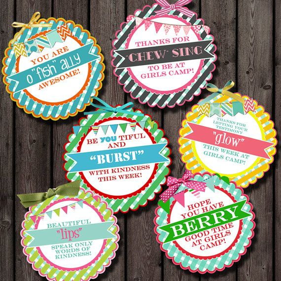 Girls camp, pillow gift tags, young women tags, camp favor tags, favor tags, digital printable, instant download