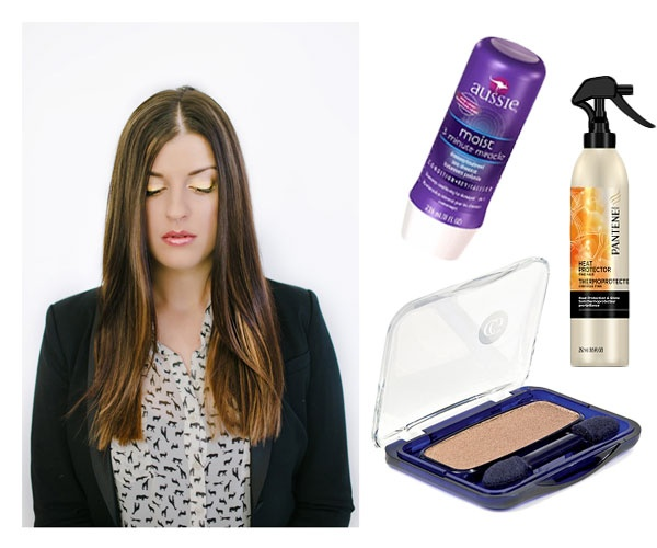 Aussie 3 Minute Miracle Moist Deep Conditioner (3.99): Getting the sleek and straight look can be damaging to the hair. Prep before you style with this deep conditioner.    Pantene Pro-V Fine Hair Style Heat Protector (5.99): Spray onto damp hair before you blow dry. Leaves hair soft and silky.    COVERGIRL Eye Enhancer 1-Kit Eye Shadow in Golden Sizzle (3.14): Achieve golden eyes with this sparkly eyeshadow.
