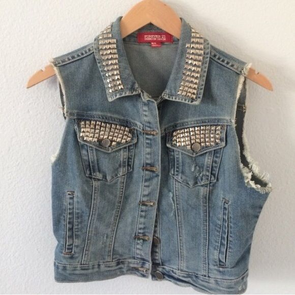 Last chance! Like New Versatile Studded Denim Vest For all styles and ages! Fits S/M and possible large. I love this vest but sadly it doesn't fit with my wardrobe anymore! Forever 21 Jackets & Coats Vests