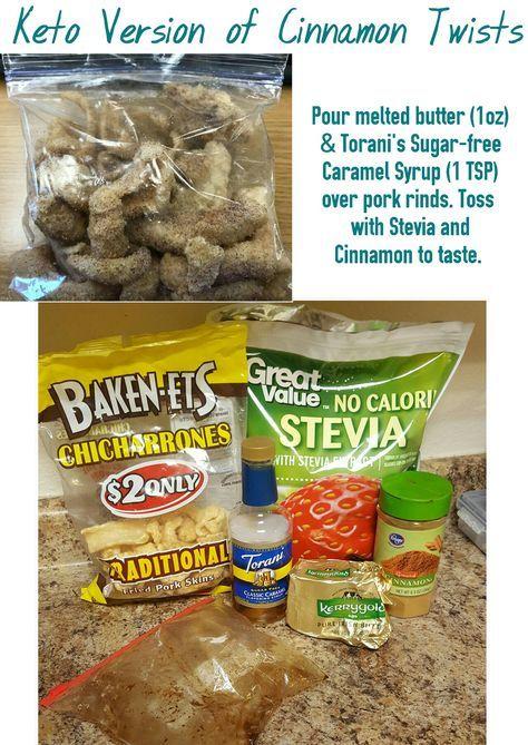 Keto Version of Cinnamon Twists -pork rinds -melted butter -cinnamon -Stevia -Torani's Sugar-free Caramel Syrup