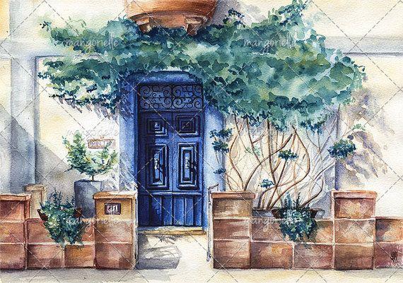 Maltese Door - Watercolor Painting & Print