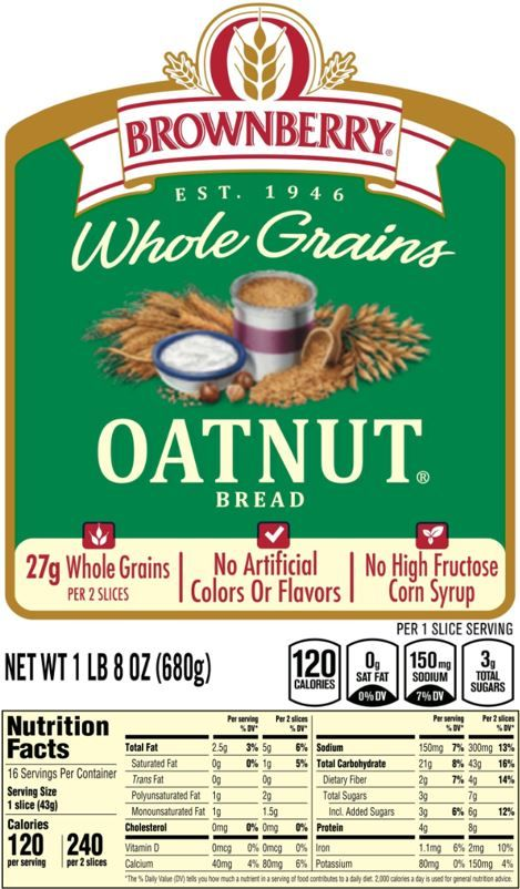 The updated Nutrition Facts label, as seen on Brownberry Whole Grains Oatnut Bread. Image courtesy of Label Insight.