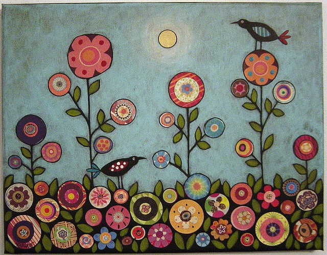 collage folk art flower and birds by karla gerard
