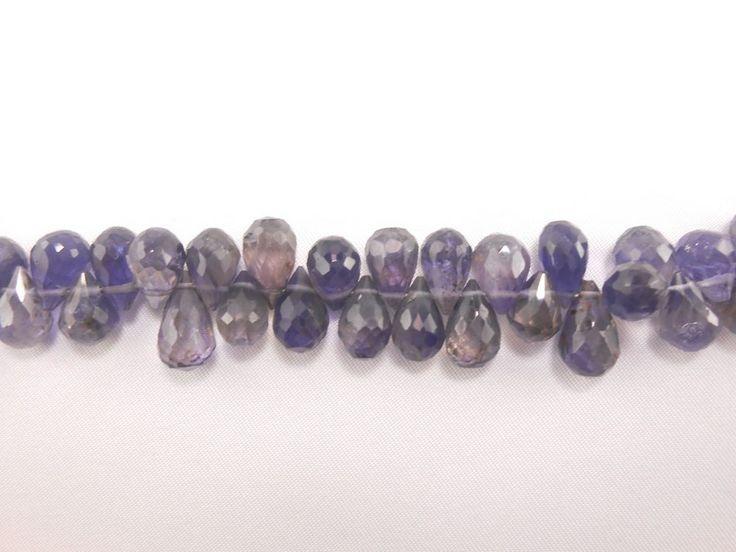 "Genuine Iolite Faceted Teardrop Briolette 7.5"" long Blue 61 loose beads strand  #GemstoneTopper #Faceted"