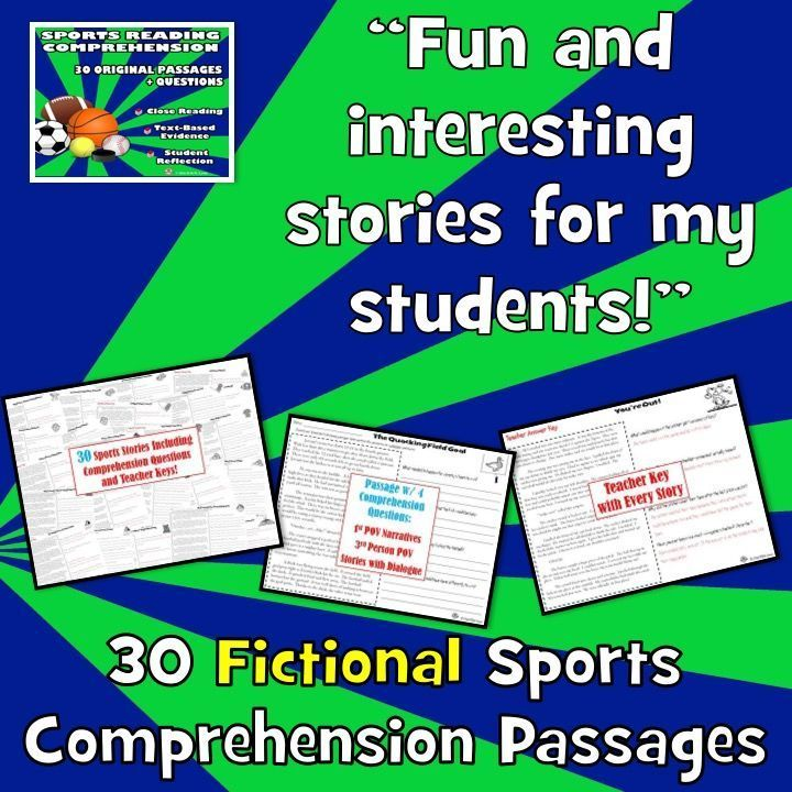 Need FUN reading comprehension passages and questions reading for reluctant readers? 30 original, SPORTS reading comprehension passages with close reading, text-based evidence, and open ended questions. NO PREP!Sports fans will LOVE these stories! Put them right behind the plate, running down the field, squeaking down the court, and more!